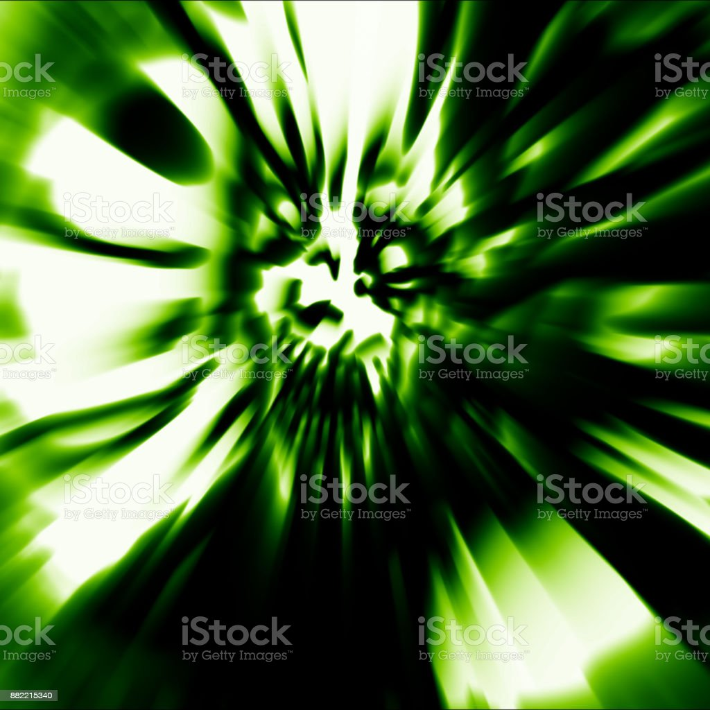 Scary head of zombie woman with disheveled hair. Illustration in green color. stock photo