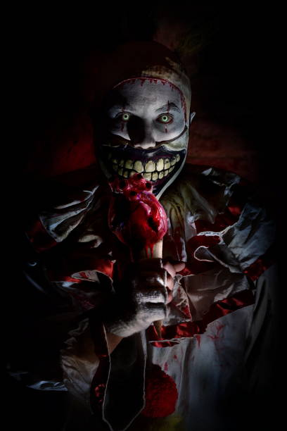 scary horror clown - killer stock photos and pictures