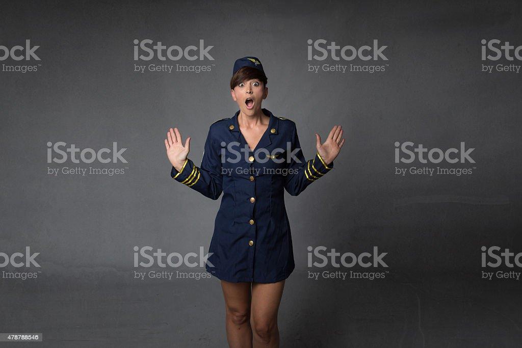 scary hostess Gestikulieren – Foto