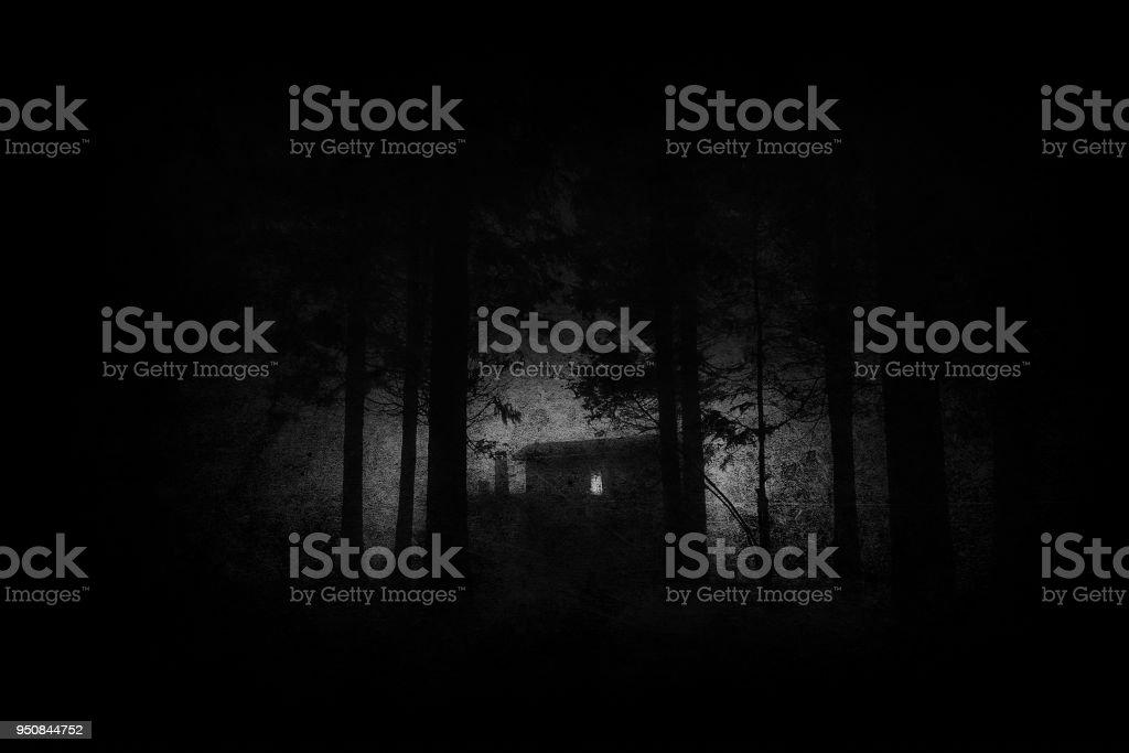 casa miedo en terror misterioso bosque por la noche en blanco y negro con texturas Grunge - foto de stock