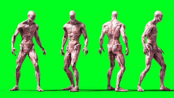 Scary monster isolate on green screen. 3d rendering. stock photo