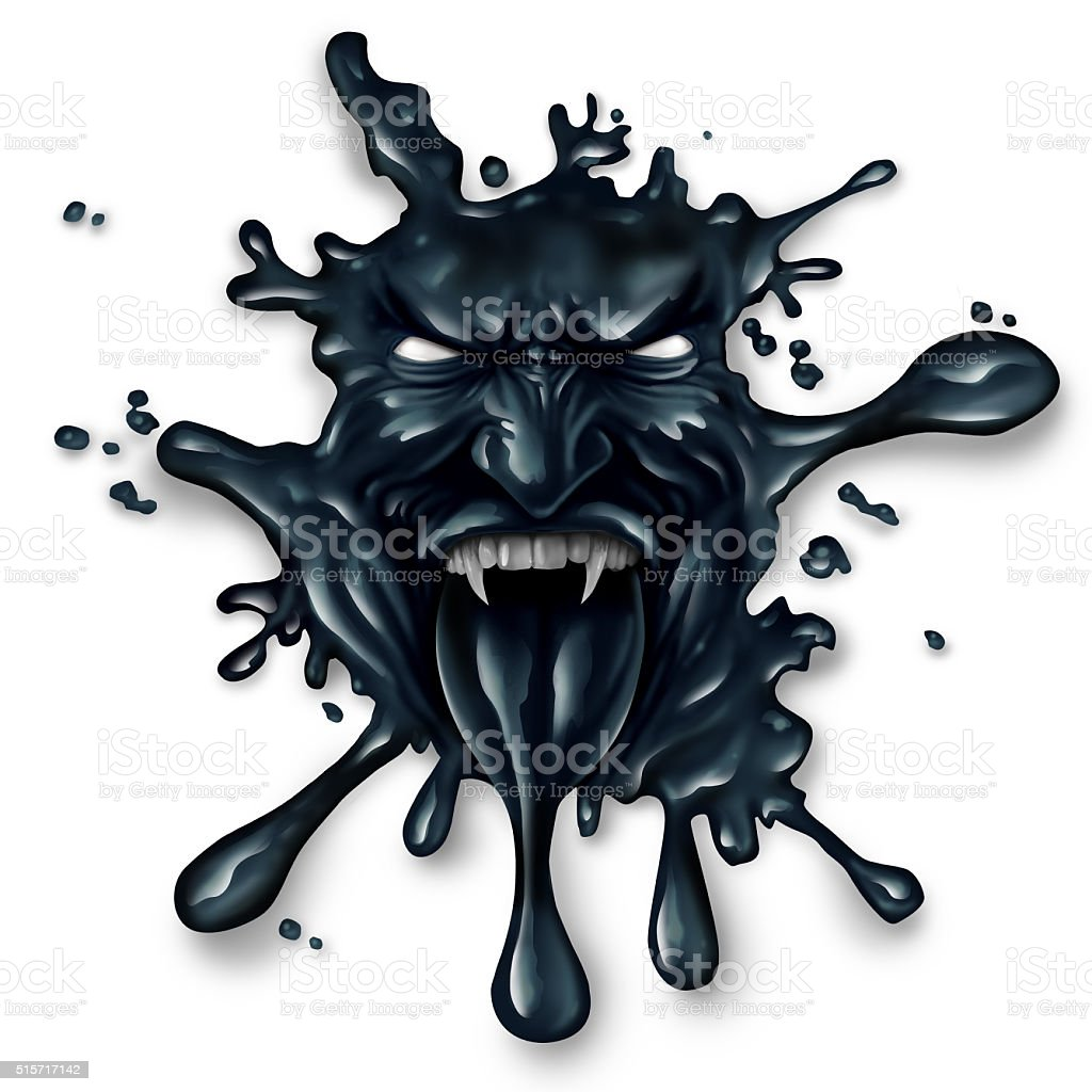 Scary Oil Spill stock photo
