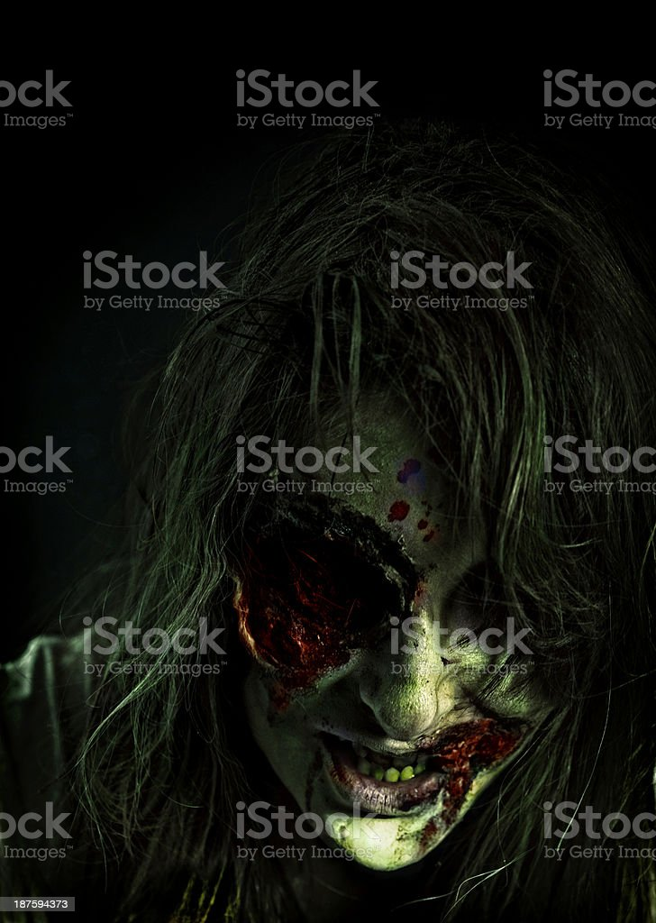 Scary Old Witch on Dark Night royalty-free stock photo
