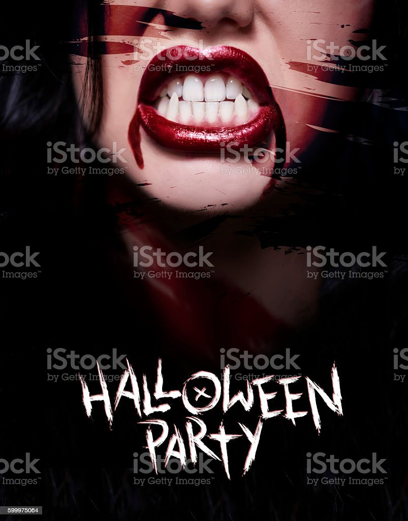 Scary poster with creepy face stock photo