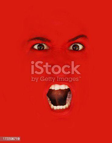 istock Scary red snarl to yell and scream 172206719