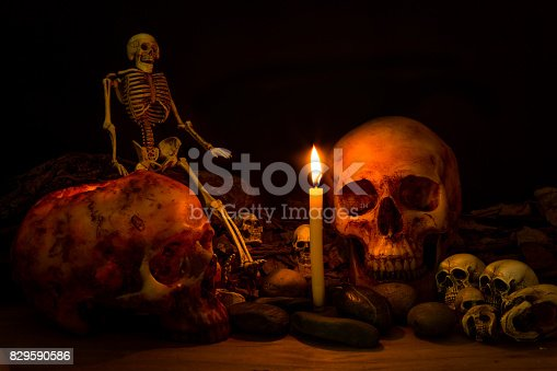istock Scary skull set in low light candle use in halloween or mystery concept 829590586