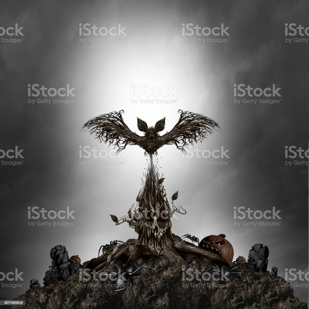 Scary Tree Monster stock photo
