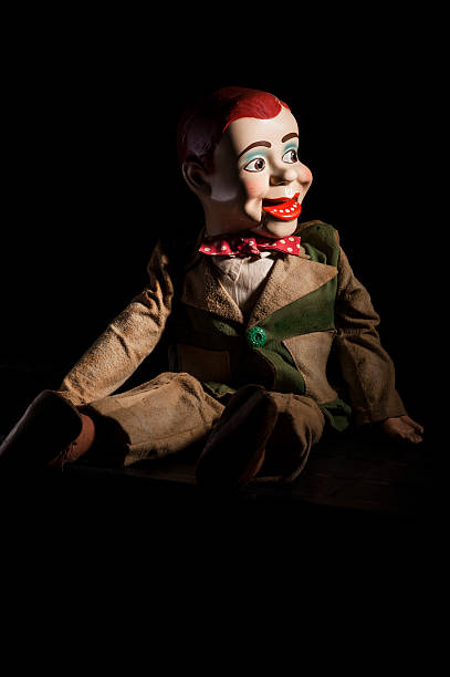 Scary ventriloquist's dummy Original ventriloquist doll of dating from the early 1950's.  ventriloquist's dummy stock pictures, royalty-free photos & images