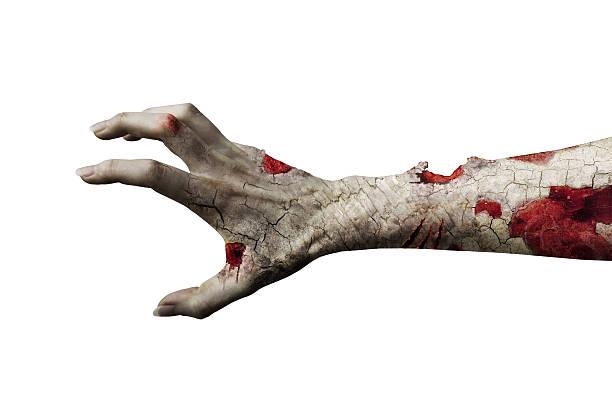 scary zombie mano aislado en blanco - monstruo fotografías e imágenes de stock