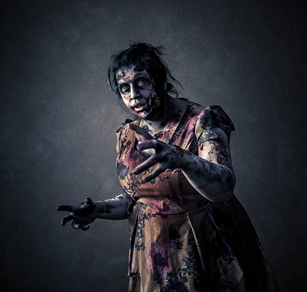 Scary Zombie on Black Background stock photo