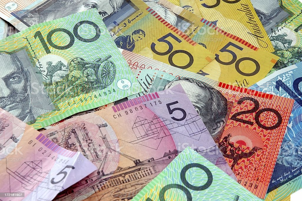 Scattered Australian Cash stock photo
