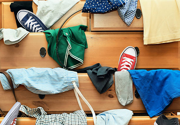 Scattered clothes stock photo