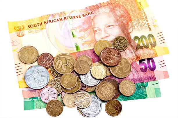 Verstreut Münzen auf drei South African Bank für Reisebüros – Foto