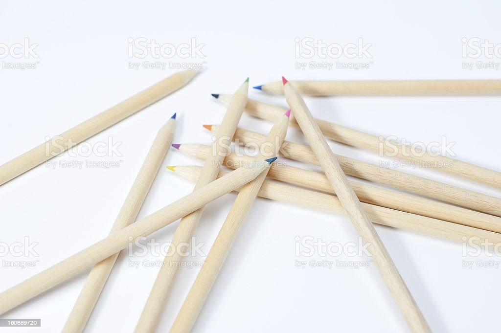 Scattered colored pencil royalty-free stock photo