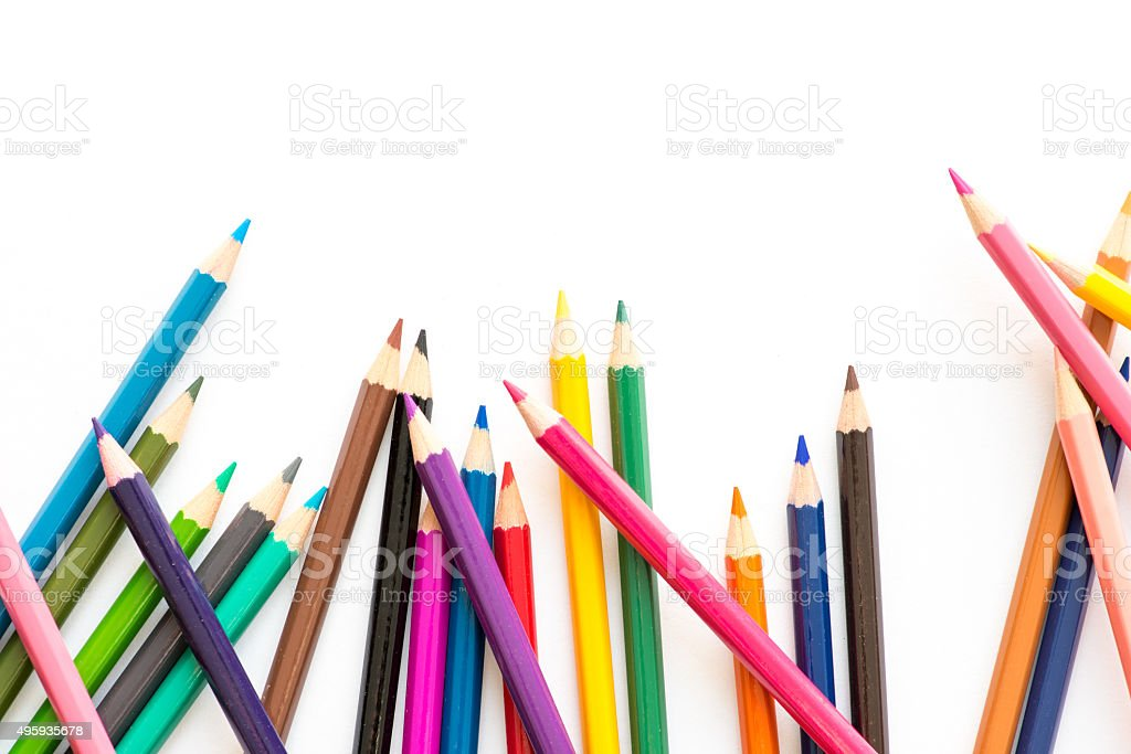 Scattered coloring pencils stock photo