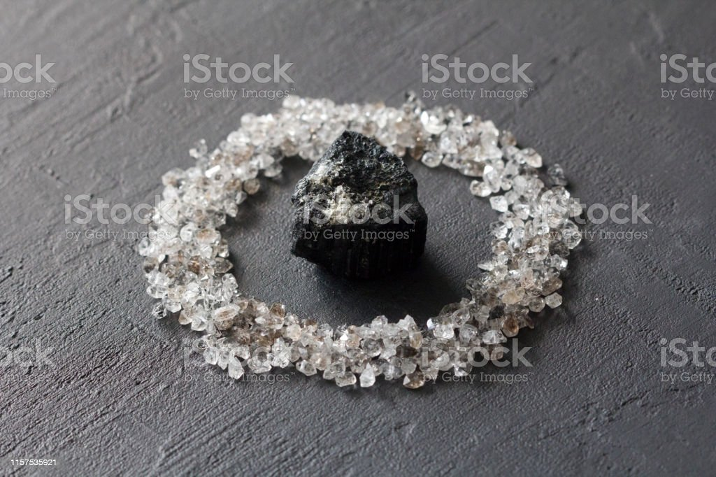 Scattered Diamonds On A Black Background Raw Diamonds And Mining A Scattering Of Natural Diamond Stones Graphite Quartz Natural Stones And Minerals Stone Black Tourmaline Sherl Stock Photo Download Image Now