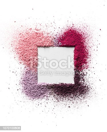 Scattered eyeshadow and blush for the face in the form of a square frame with space for text. Isolated on white background. Cosmetic concept