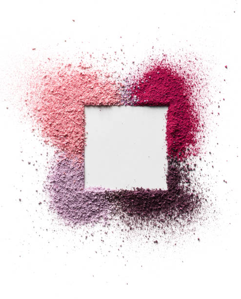 scattered eyeshadow and blush for the face in the form of a square frame with space for text. isolated on white background. - make up imagens e fotografias de stock