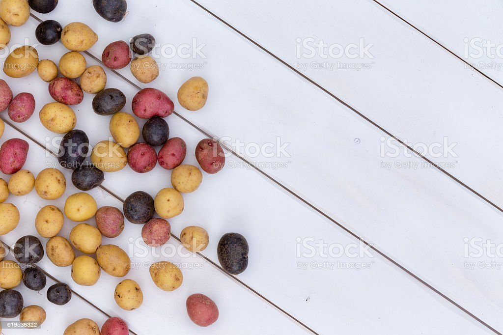 Scattered fresh multicolored baby potatoes stock photo