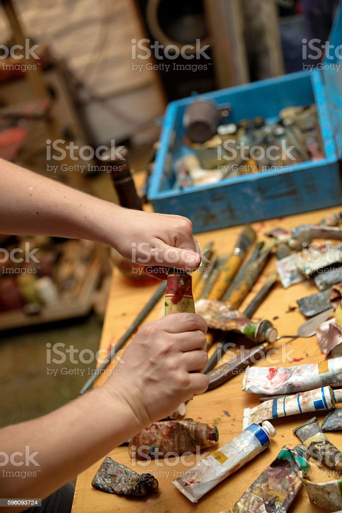 scattered on the table tools of the painter royalty-free stock photo