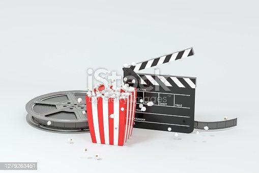Scattered popcorn, sweet food, 3d rendering. Computer digital drawing.