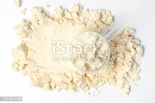 Scattered protein and measuring spoon on a white background top view, concert of sports nutrition.