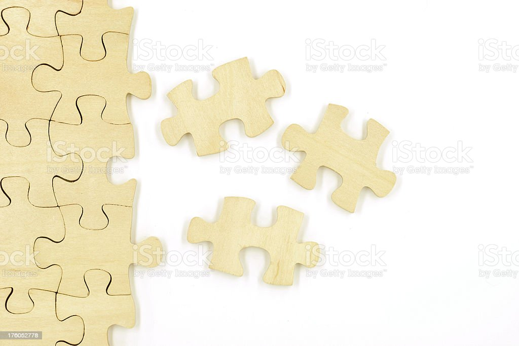 Scattered Puzzle Pieces stock photo