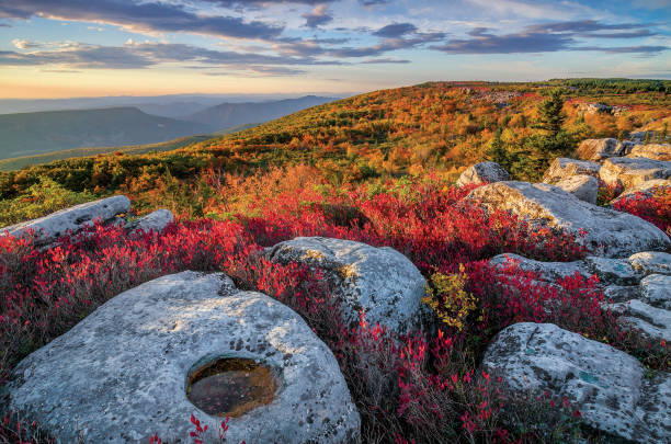 Scattered rocks and fall colors, West Virginia stock photo