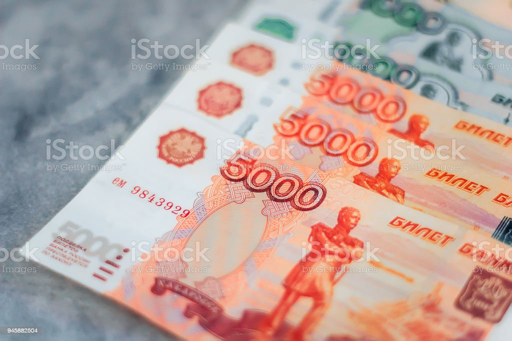 Scattered Russian Ruble Currency Banknotes Closeup View Stock Photo