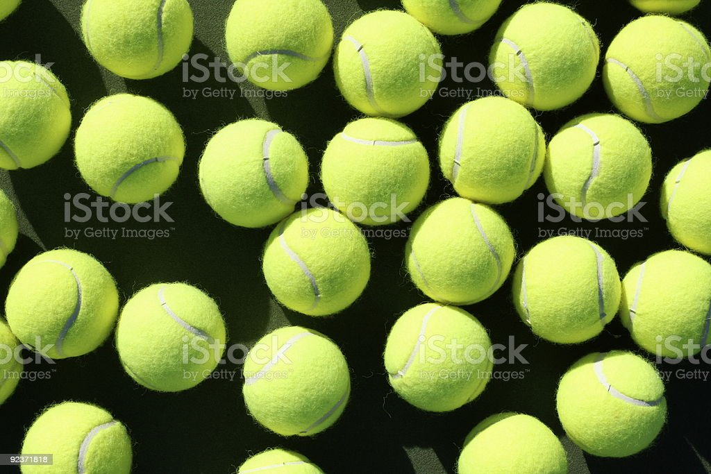 Scattered Tennis balls royalty-free stock photo