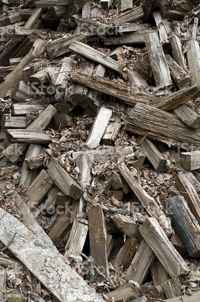 Scattered Woodpile of Pine Firewood royalty-free stock photo