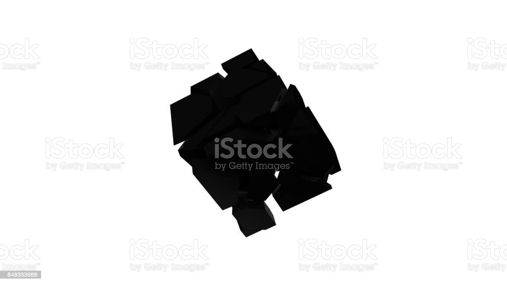 Scattering and picking up a black cube on an isolated background. Abstract digital backdrop stock photo