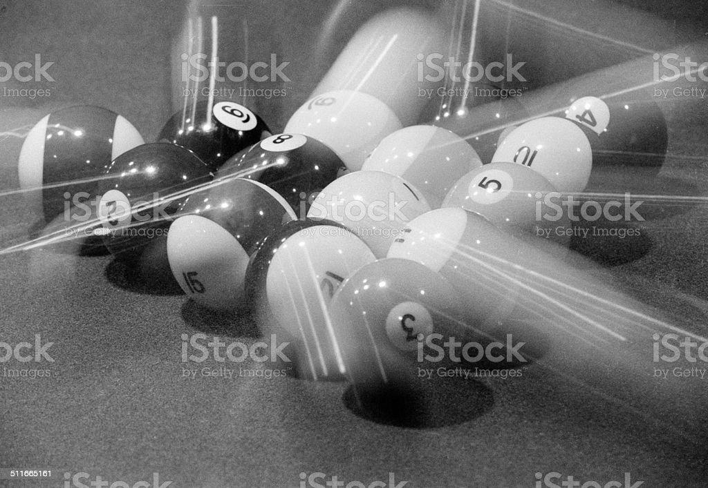 Scattering Billiard Balls stock photo