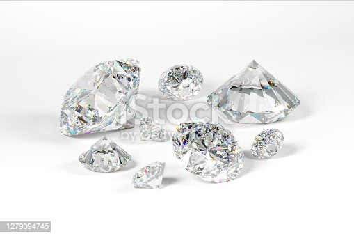 A scattering of diamonds of different sizes on a white background. Exhibition of precious stones. Perfect cut. 3d rendering.