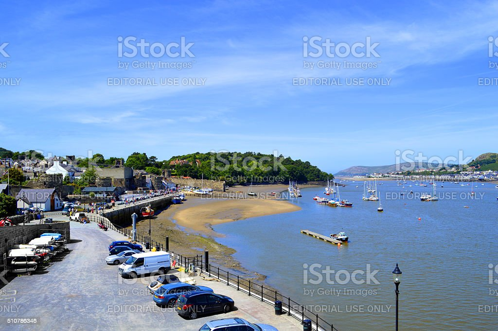 Sceanic Conwy harbour in North Wales stock photo