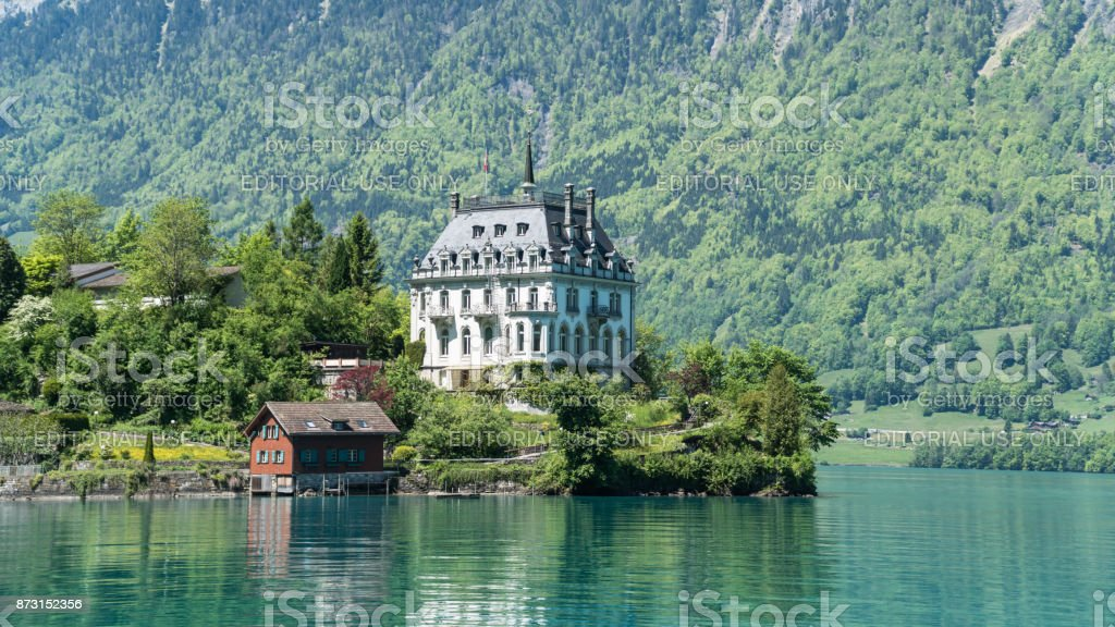 Scenary from Swiss town of Iseltwald with lake Brienz near Interlaken stock photo