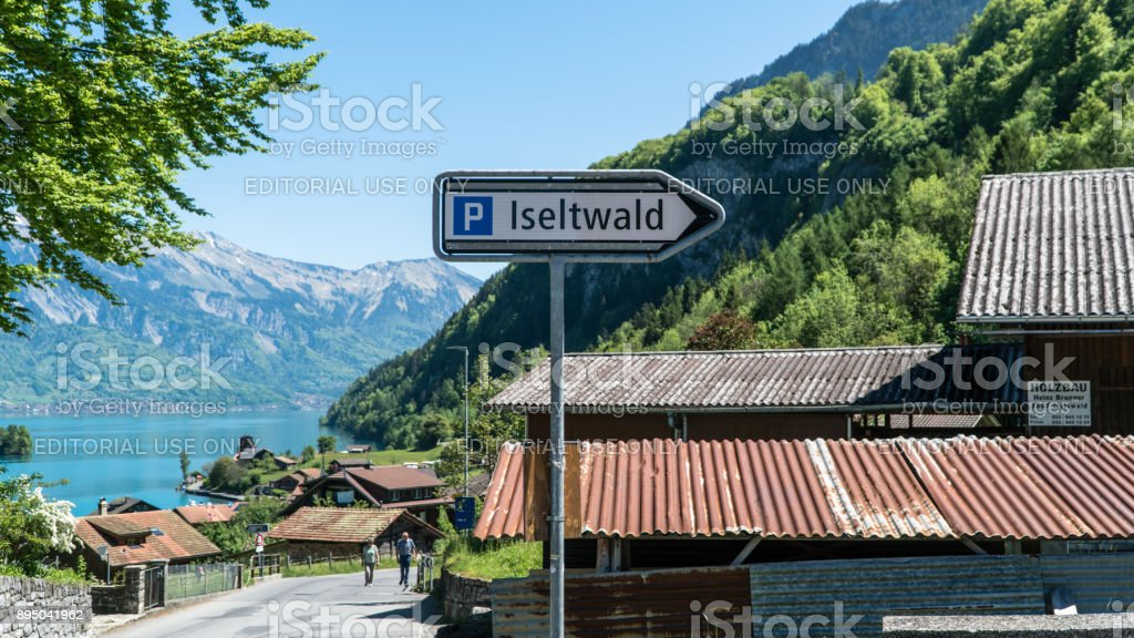 Scenary from Swiss town of Iseltwald with lake Brienz. stock photo