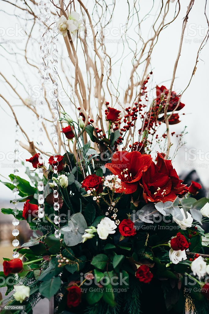 scene flower arrangement at a wedding stock photo
