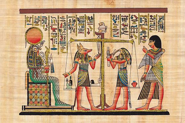 Scene from afterlife ceremony painted on papyrus stock photo