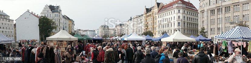 Vienna, Austria, traditional city market Naschmarkt, 11/02/2019. People looking and shopping second hand items in flea market in Naschmarkt.