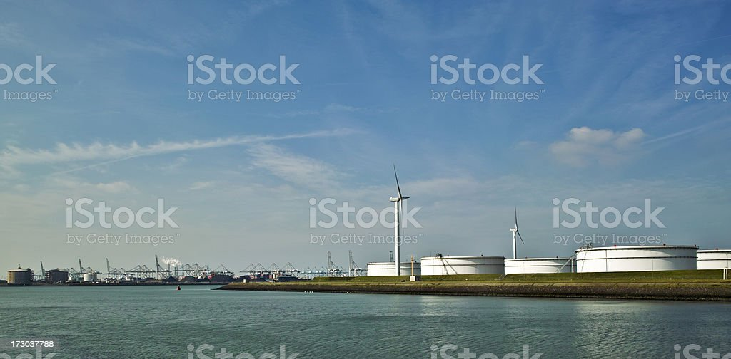 Scene from Rotterdam harbor royalty-free stock photo