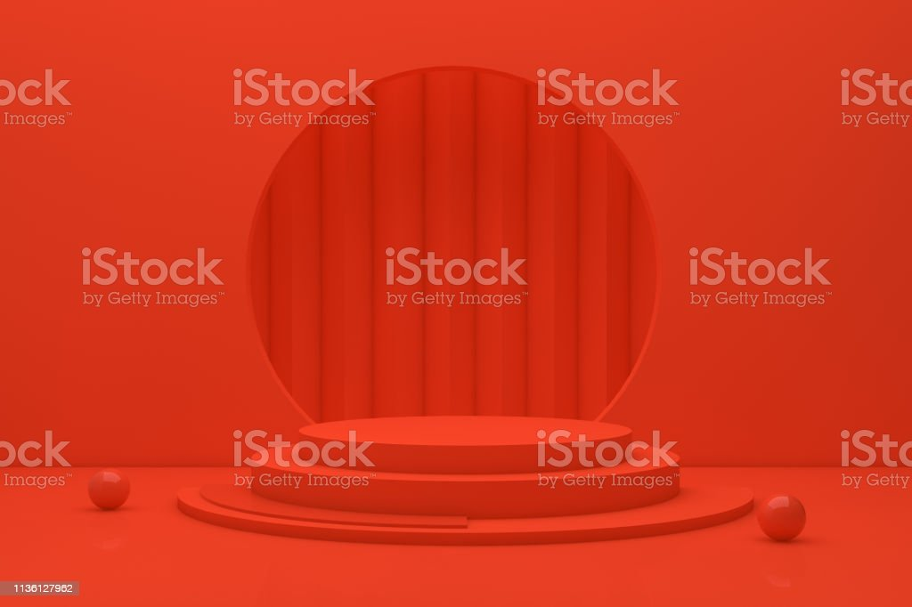 3D Scene Geometric Shapes with Empty Product Stand, Platform, Abstact Minimal Red Background stock photo