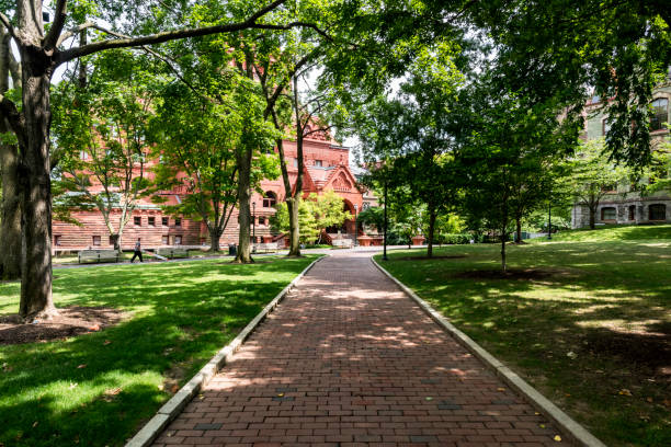 Scene in the University of Pennsylvania campus Philadelphia, USA - July 17, 2018: People walk in campus of Pennsylvania State University in Philadelphia. Penn State dates back to 1855. ivy league university stock pictures, royalty-free photos & images