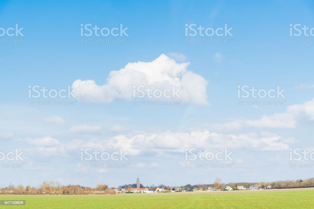 Scene non focus  blue sky and white clouds  in country side of europe stock photo