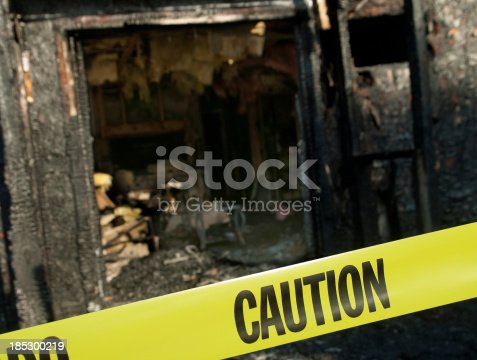 Image of a fiery destruction to a house. Useful image for any fire prevention theme. Please see some similar pictures from my portfolio: