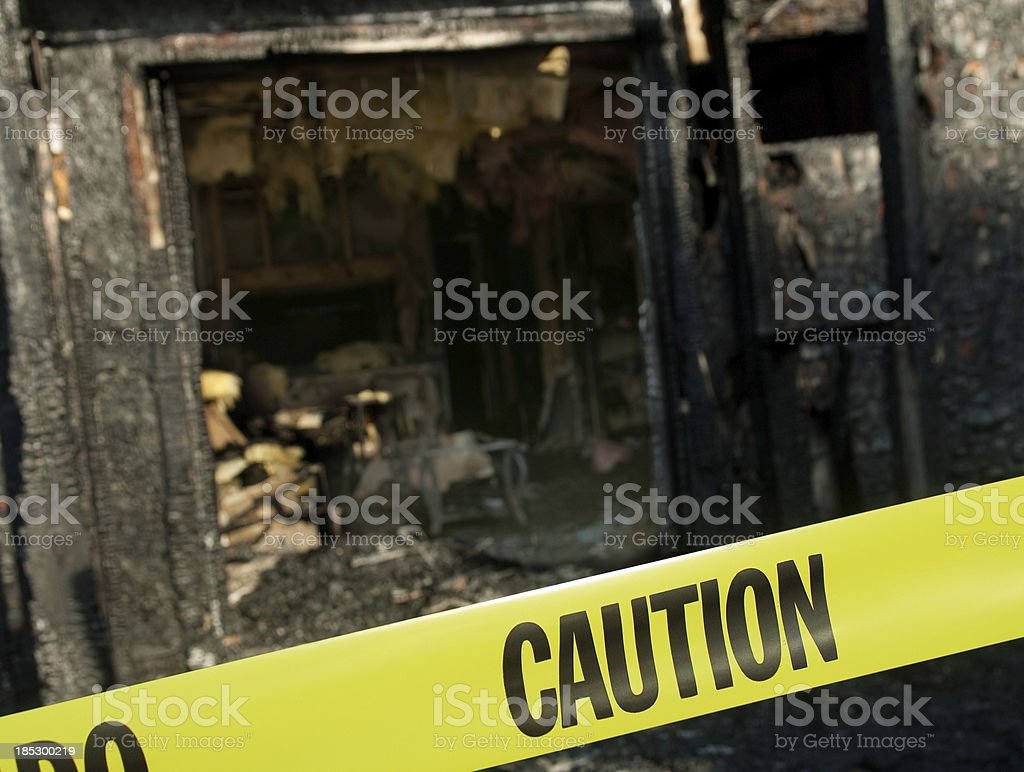 Scene of a House Fire stock photo