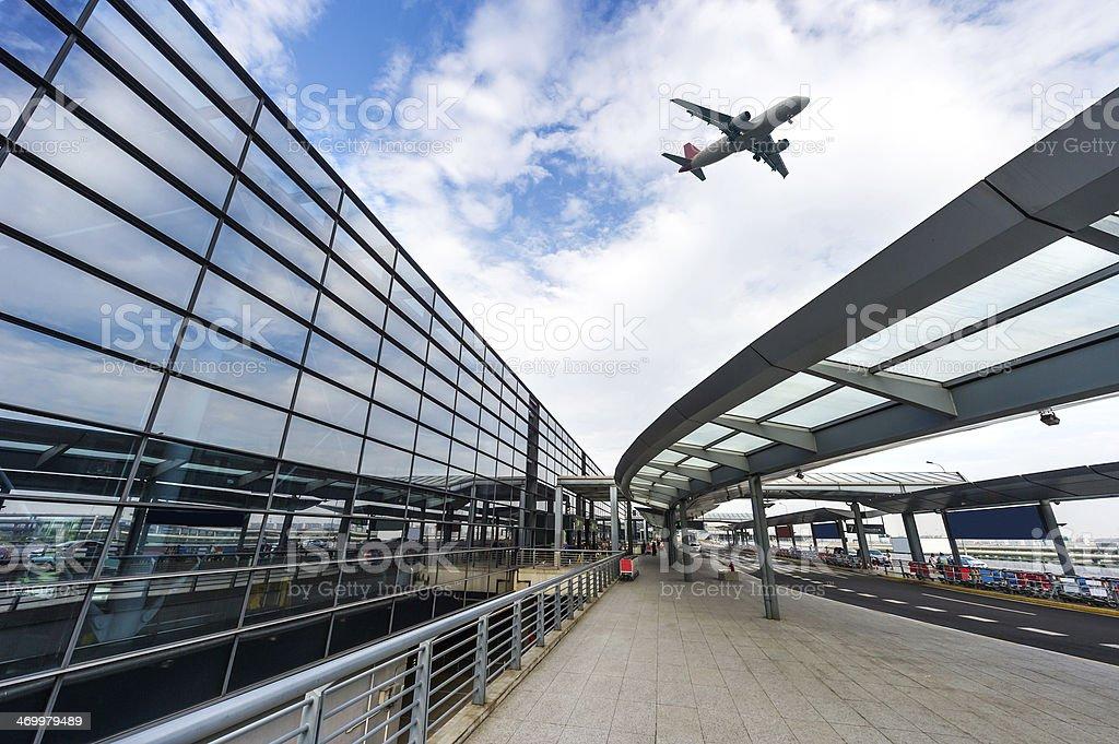 scene of airport building in shanghai china stock photo