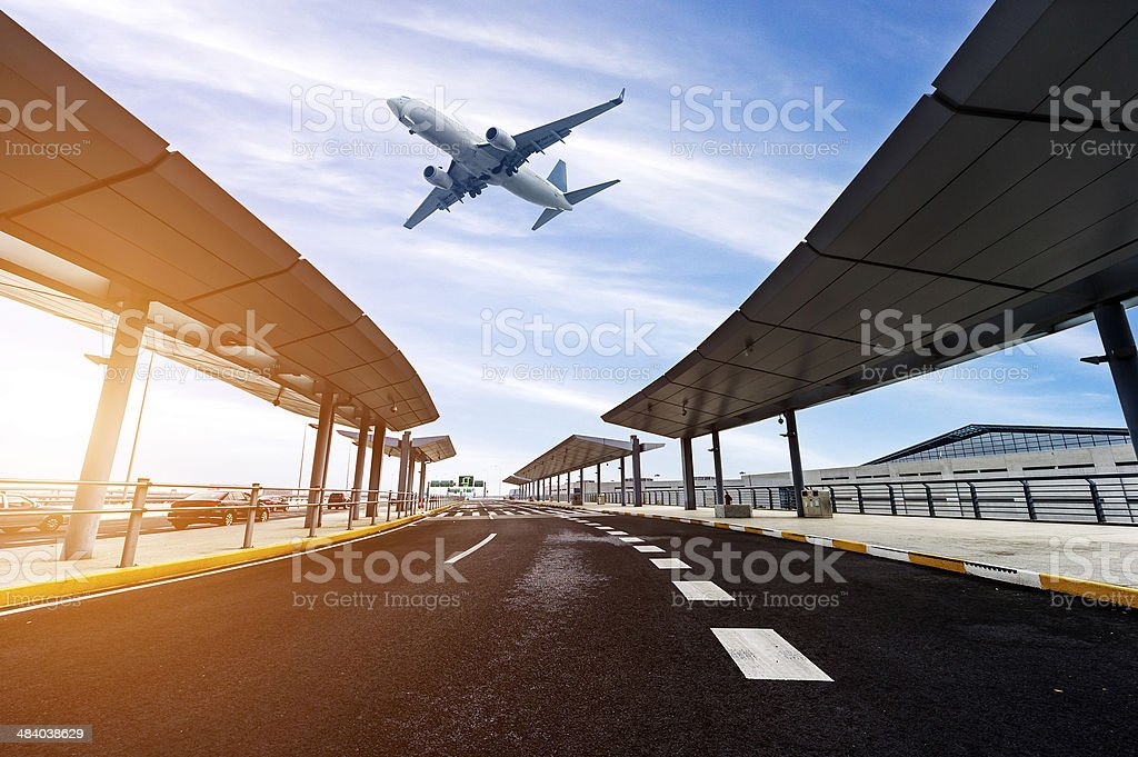 scene of airport building in shanghai china stock photo