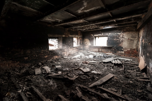 istock Scene of an abandoned and burned out room 168769066