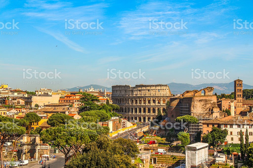 Scene of ancient Rome city with Colosseum, Italy stock photo